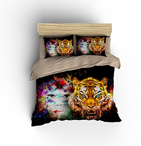 DIY Duvetcover Wonderful Charming Girl White Tiger Face Cotton Microfiber 3pc 80''x90'' Bedding Quilt Duvet Cover Sets 2 Pillow Cases Full Size by DIY Duvetcover