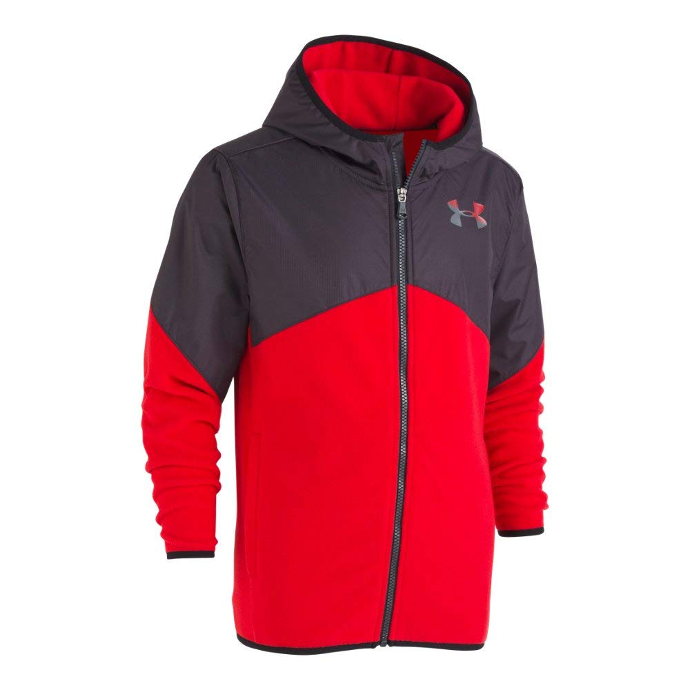 Under Armour Big Boys' North Rim Micro Fleece Jacket, Red, Medium (10/12)