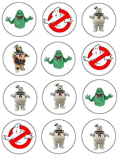 Ghostbusters Logo Slimer Stay Puft Marshmallow Man Edible Cupcake Toppers ABPID04961]()