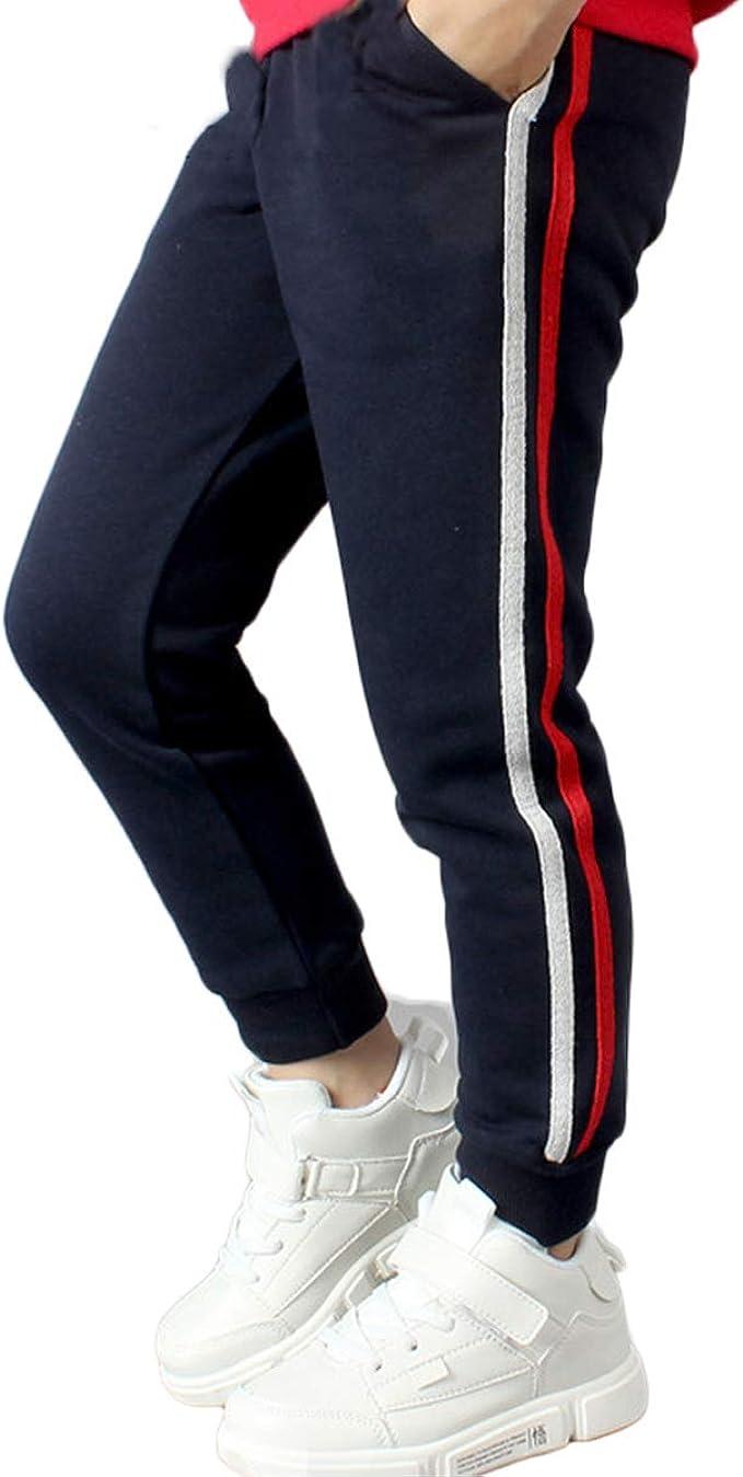 FLOWERKIDS Boys Jogger Pants Striped Cotton Sweatpants Adjustable Waist Trousers Age 5-14 Years