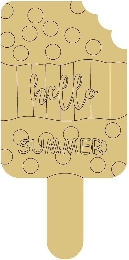 Popsicle Design by Lines Cutout Unfinished Wood Summer Decor Summer Treat Party Decor MDF Shaped Canvas Style 1 Art 2 (12