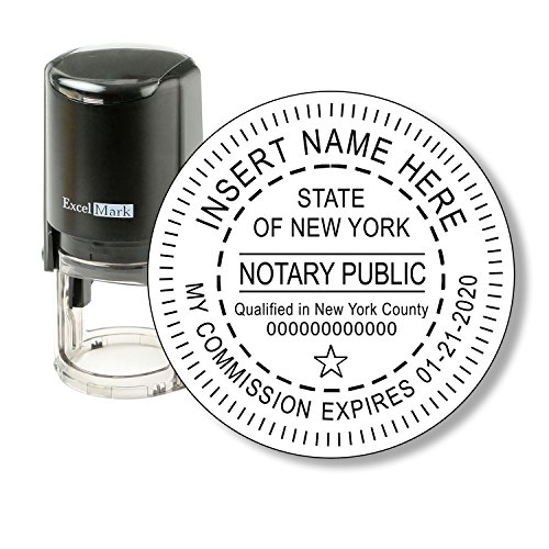 Round Notary Stamp for State of New York - Self Inking Stamp - Features the ExcelMark Double Sided Ink Pad for Longer Product Life - Custom Pocket Stamp