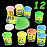 Glow in The Dark Slime Assortment, Pack of 12, Glowing Putty & Slime, Assorted Colors, Clear Containers, Great Children – Birthday - Slime Party Favor, Putty Slime Cups For Kids, By 4E's Novelty