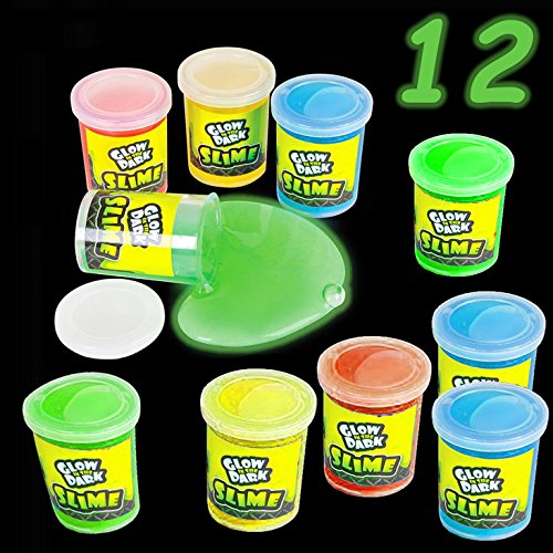 Glow in The Dark Slime Assortment, Pack of 12, Glowing Putty & Slime, Assorted Colors, Clear Containers, Great Children – Birthday - Slime Party Favor, Putty Slime Cups For Kids, By 4E's Novelty by 4E's Novelty