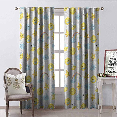 (GloriaJohnson Kids 99% Blackout Curtains Happy Smiling Moon and Stars Good Morning and Night Rainbows Funny Clouds for Bedroom- Kindergarten- Living Room W52 x L63 Inch Yellow Baby Blue Pink)