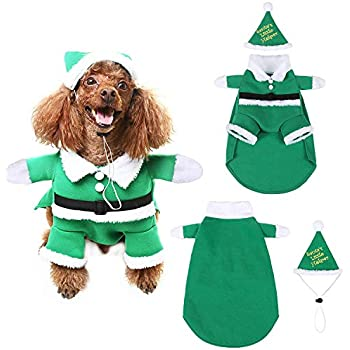 SCENEREAL Christmas Dog Costumes with Hat Cute Santa Claus Pet Clothes Suit Xmas  Outfits for Small Medium Dogs Cats Puppy Cosplay Green, S - Amazon.com : NACOCO Pet Christmas Costumes Dog Suit With Cap Santa