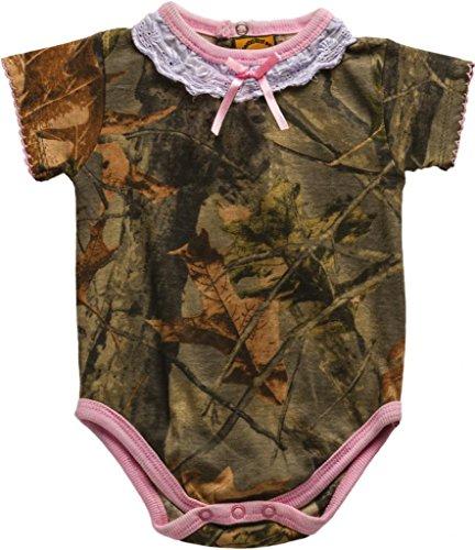 Trail Crest Infant Camo Undershirt- Body Suit W/ Magnet, 6-12 Months, Pink & Camo