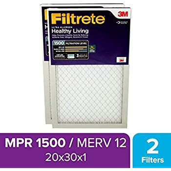 Filtrete 20x30x1, AC Furnace Air Filter, MPR 1500, Healthy Living Ultra Allergen, 2-Pack