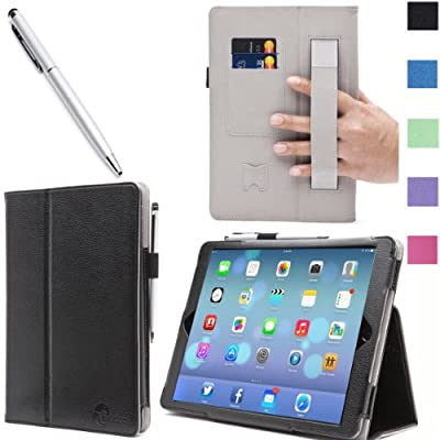i-BLASON Apple New iPad Mini with Retina Display Case (2nd Generation) Auto Wake / Sleep Smart Cover Leather Case (Elastic Hand Strap, Multi-Angle, Card Holder) With Bonus Stylus 3 Year Warranty