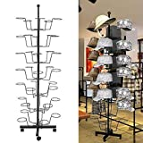 Creine Hat Display Rack Stand, 7 Tier 35 Circular Cap Display Retail Rotating Adjustable Metal Free Standing Floor Stand Hanger Rack Organizer, 4 Wheels with Brake (US Stock)