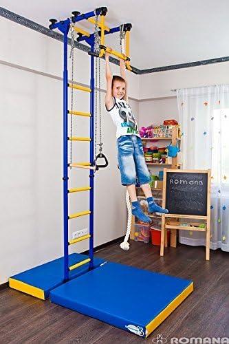 Escalera de Juegos para Niños - Se Fija Desde el Suelo Hasta el Techo - Equipo para Interiores para Entrenamiento de Deportes de Gimnasio con Equipamiento y Accesorios: Barra Trapecio Oscilante, Escalera,