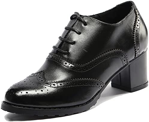 U-Lite Womens perforadas cordones piel Wingtip mid-heel Oxfords Zapatos de clásico Oxford Brogues
