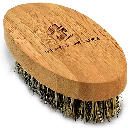 Beard Deluxe - Beard Brush For Men - Best Facial & Scalp Hair Comb - Natural Bamboo, Ergonomic Handle & 100% Boar Bristles For Easy Conditioning & Styling - Portable Design - Gift Box & Cotton Pouch