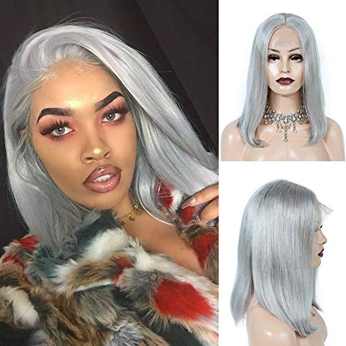 Benafee Grey Lace Front Human Hair Bob Wig Silky Straight Middle Part Short Bob Wigs Glueless Pre Plucked 180 Density Swiss Lace Remy Hair Bob Wig 8 Inch