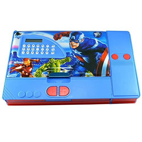 KIKU Avengers Gadget Multipurpose Pencil Box with Calculator (Multicolour)