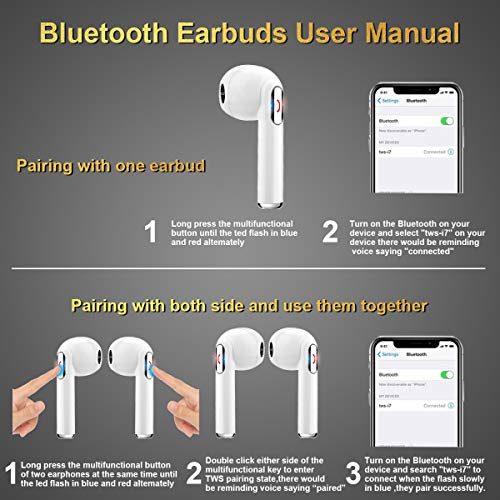 Wireless Earbuds, iFuntec Bluetooth Headphones with Mic Compact in-Ear Headphones Mini Cordless Sports Earphones Stereo True Wireless Earbuds with Portable Charging Case for Android Smartphones White by iFuntec (Image #6)