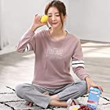 Junson Sleepsuits Women's Cotton Long-Sleeved Pajamas Spring and Autumn Fashion Pink Home Service Suits (Size : L) for You (Size : Large)