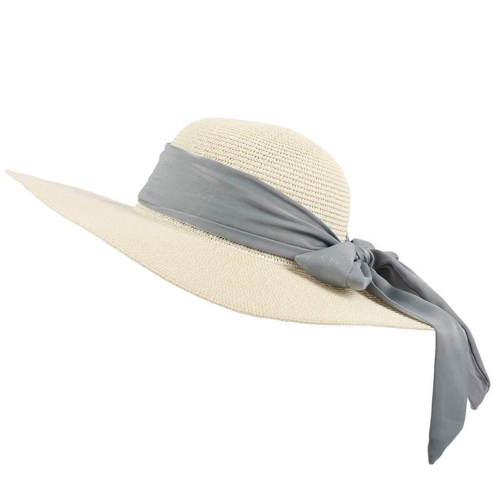 2019 Verano Elegante Sombrero Ancho del Borde de la Playa de la Paja para Las se/ñoras de Las Mujeres Casuales Sombreros Plegables Flojas adpto a la Playa//al Aire Libre//la Fiesta