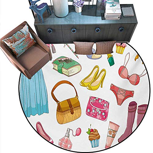 (Heels Dresses Print Area Rug Fashionable Girlish Items Cartoon Style Cosmetics Boots Cupcakes Lipstick Home Decor Foor Carpe (63