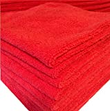 12 RED microfiber towels new cleaning cloths bulk 16x16 330 gsm!! Thick & plush