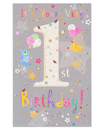 American Greetings Extra Love 1st Birthday Card with Foil (Happy Birthday Messages For 1 Year Old)