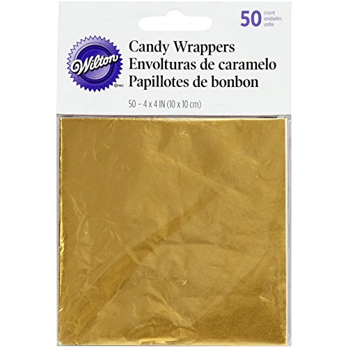 Wilton Foil Candy Wrappers, 4 by 4-Inch, Gold, ()