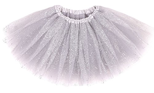Girl's Princess Layered Dress-Up Tulle Tutu Skirt w/Sparkling Sequins,Silver]()