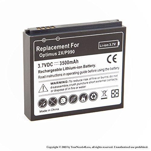 YN4L® 3500mAh extended battery for LG Optimus 2X P990 G2X + Black cover