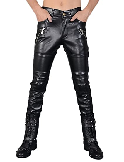 be9e3e24f02 Idopy Pantalon PU en Cuir Noir Faux Skinny Homme  Amazon.fr ...