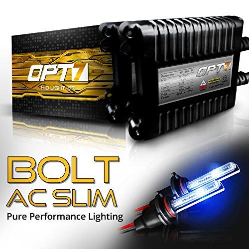 OPT7 Bolt AC Slim H11 H8 H9 HID Kit - 4X Brighter - 6X Longer Life - All Bulb Sizes and Colors - 2 Yr Warranty [6000K Lightning Blue Xenon Light]