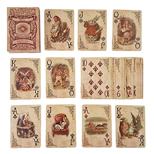 ASVP Shop Alice In Wonderland Playing Cards - Full Set is Ideal for Themed Parties, Props, Theme, and Games -