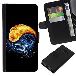 KLONGSHOP // Tirón de la caja Cartera de cuero con ranuras para tarjetas - Arte Universo Yin Yang Agua Fuego Cosmos Círculo - Samsung Galaxy A3 //