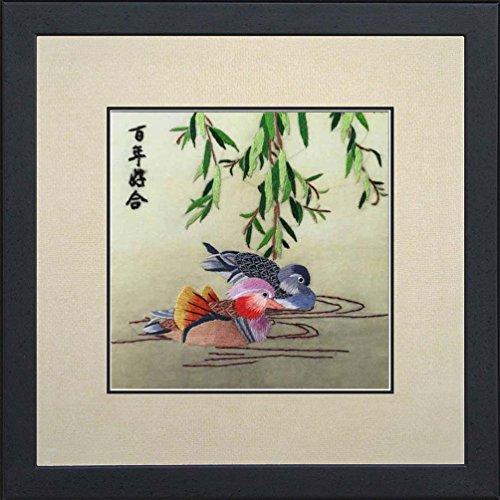 Silk Art 100% Handmade Embroidery Framed Mandarin ducks playing in the water Painting Gift Oriental Asian Wall Art D¨¦cor Artwork -