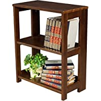 2-Shelves Mocha Walnut Fold Out Shelves And Sides For Easy Set Up Desk Side Folding Bookcase, Measurements 29Hx12Dx21W