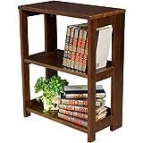 2-Shelves Mocha Walnut Fold Out Shelves And Sides For Easy Set Up Desk Side Folding Bookcase, Measurements 29Hx12Dx21W