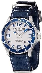 "Stuhrling Original Men's 395C.331OC2 Aquadiver ""Regatta Champion"" Stainless Steel and Blue Canvas Diving Watch"