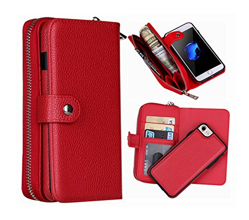 iPhone 6 Plus Wallet Case, Hynice iPhone 6S Plus Wallet Purse Case Leather Zipper Case with Credit Card Slots and Magnetic Detachable Slim Cover for iPhone 6 Plus/6S Plus -