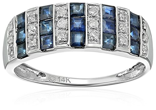 14k White Gold Blue Sapphire and Diamond Wedding Band(1/10 cttw, I-J Color, Clarity I2-I3), Size 7