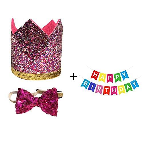 BUYITNOW Dog Birthday Set, Bow Tie/Crown Hat/Cartoon Happy Birthday Banner Bunting for Pets Animals