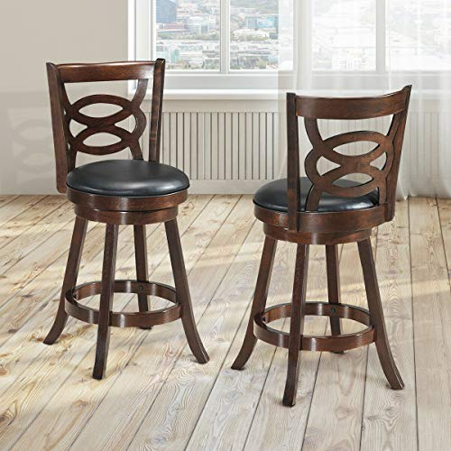 """COSTWAY Bar Stools Set of 2, Counter Height Dining Chair, Fabric Upholstered 360 Degree Swivel, PVC Cushioned Seat, Perfect for Dining and Living Room (Height 24""""-Set of 2)"""