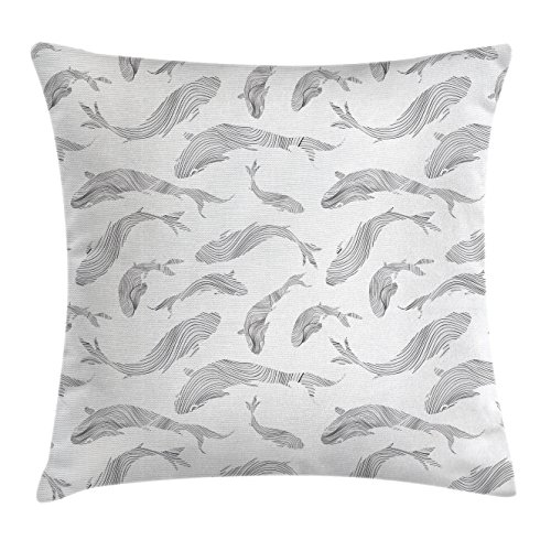 """Ambesonne Fish Throw Pillow Cushion Cover, Minimalist Fish Pattern with Stripes Tropical Fauna Tail Hand Drawn Nautical Theme, Decorative Square Accent Pillow Case, 20"""" X 20"""", Grey White"""