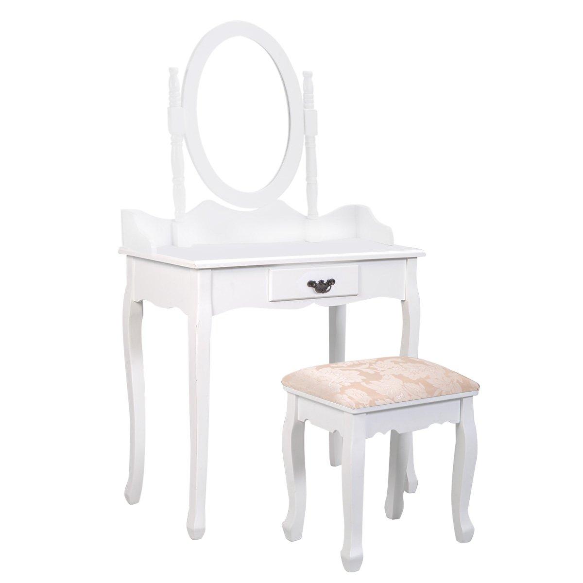 Giantex Bathroom Vanity Table Set w/Mirror Cushioned Stool Makeup Dressing Table Set w/ 1 Drawer Wood Jewelry Cosmetics Organizer Dresser Writing Desk Easy Assembly