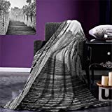 Great Wall of China Digital Printing Blanket Black and White Panorama of Traditional Landmark Cultural Ancient Ruins Image Summer Quilt Comforter 80''x60'' Grey