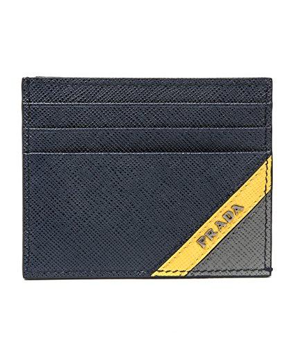 Wiberlux Prada Men's Color Blocked Metal Logo Real Leather Card Holder