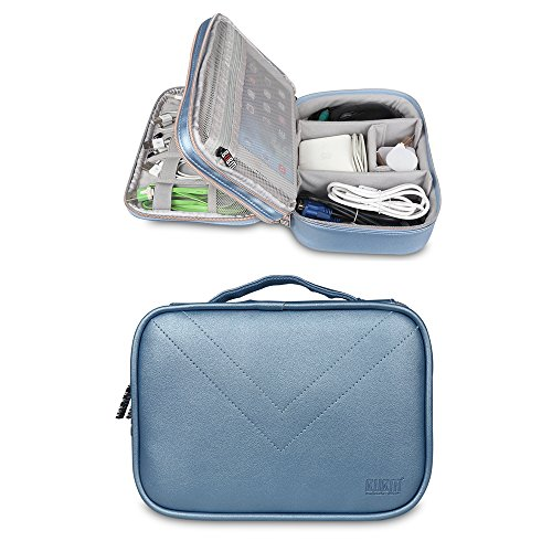 BUBM Portable Multi-functional Digital Storage Bag Electronic Accessories Travel Organizer Bag Data Cable Organizer (Blue)