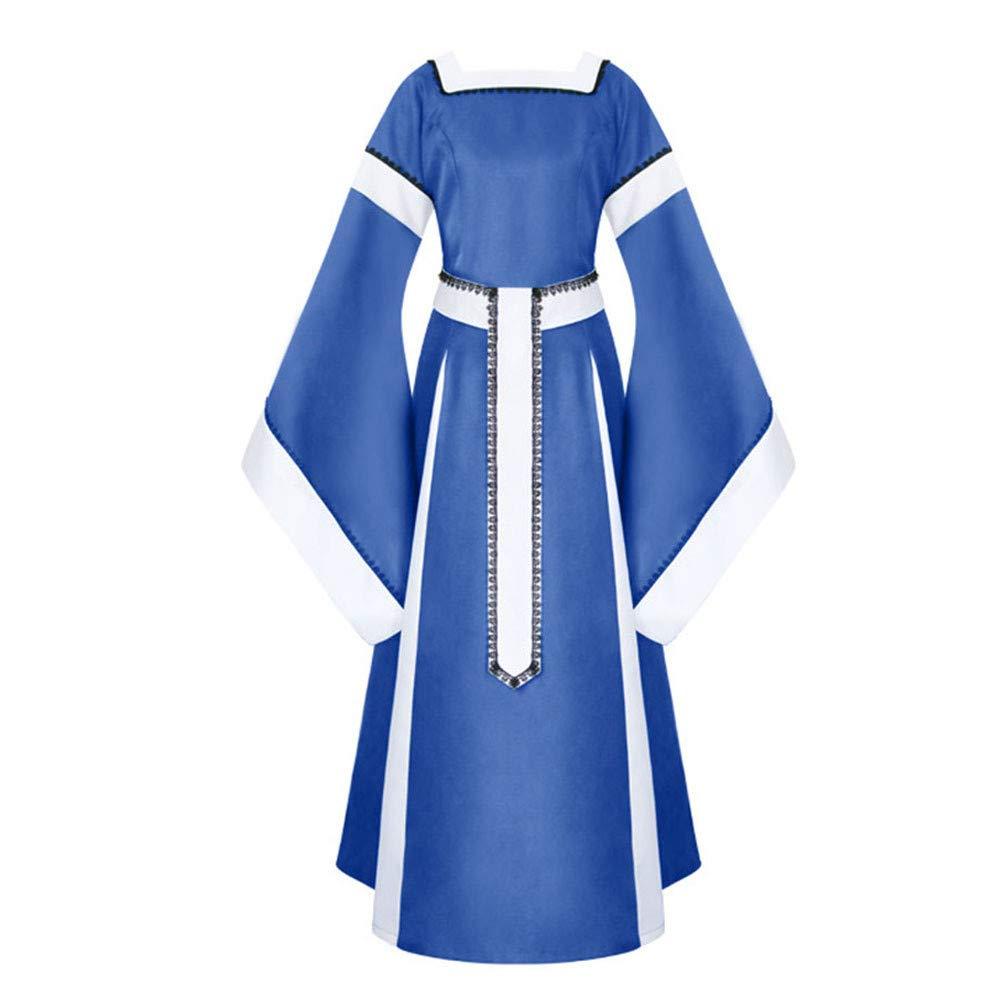 Sunyastor Womens Medieval Dress Renaissance Costumes Irish Over Long Dress Cosplay Retro Gown Gothic Costume Blue