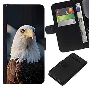 KLONGSHOP // Tirón de la caja Cartera de cuero con ranuras para tarjetas - símbolo nacional del águila calva americana - Samsung Galaxy A3 //