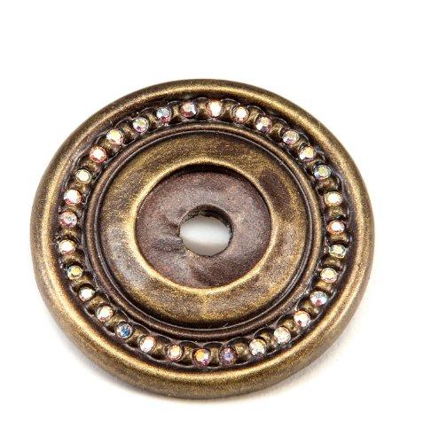 Carpe Diem Hardware 866-3AB Caché Escutcheon with Swarovski Crystals, Antique Brass