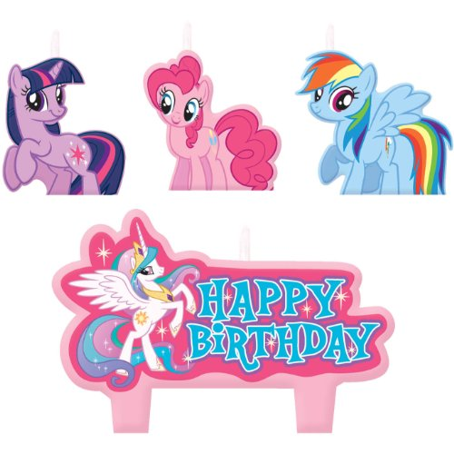 Birthday Pony (Party Time My Little Pony Friendship Molded Mini Character Birthday Candle Set, Pack of 4, Pink , 1.25