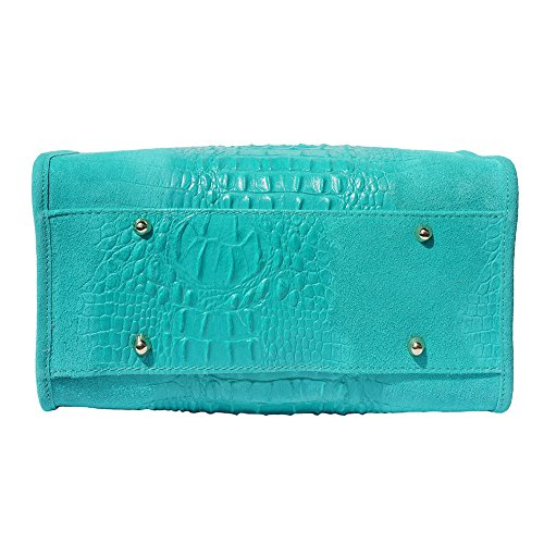 Pelle Scamosciato Borse Leather Colore Borsa Con E 7002 In Bauletto Mano Oro Market Turchese Accessori Florence Emma A Gli g6nvvT